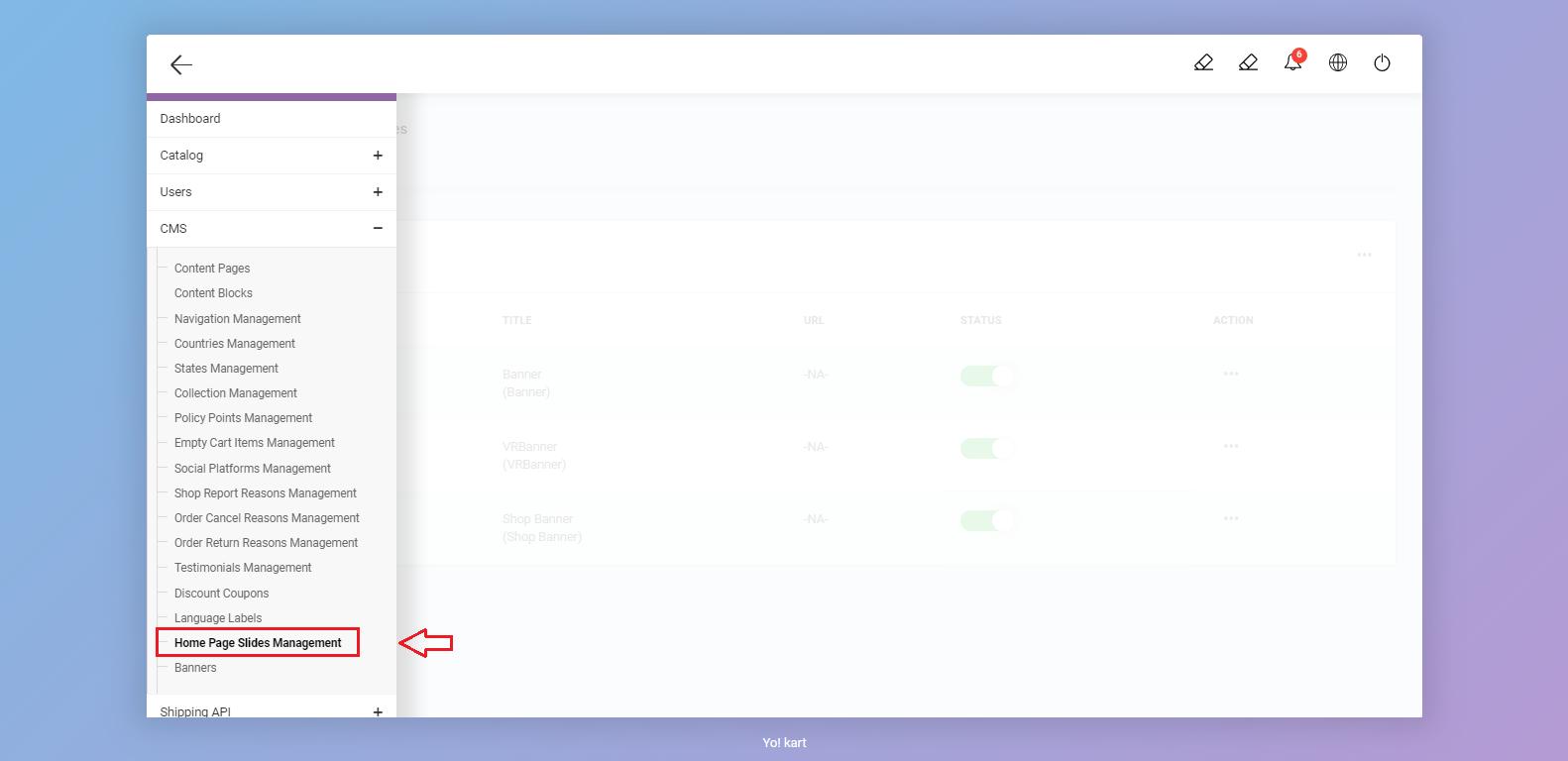 Home Page slides management