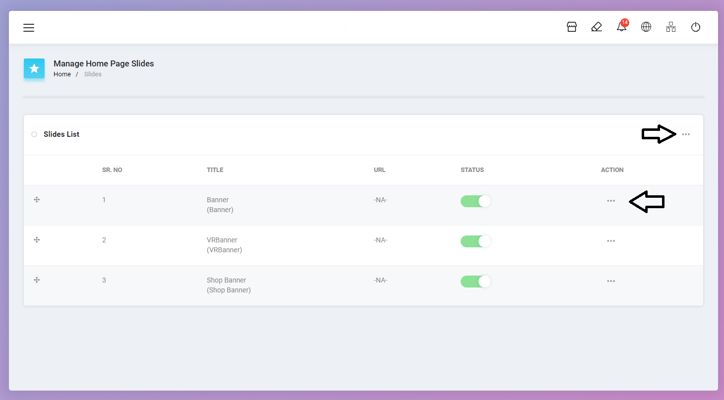 Manage Homepage Slides