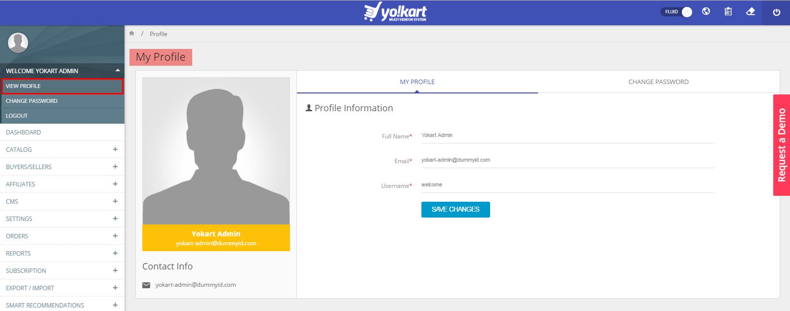 Admin profile